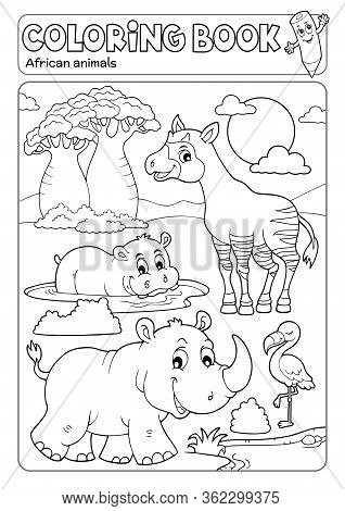 Coloring Book African Fauna 4 - Eps10 Vector Picture Illustration.