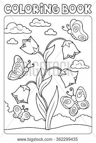 Coloring Book Bellflower And Butterflies - Eps10 Vector Picture Illustration.
