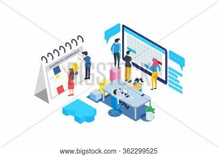 Modern Isometric Teamwork Planning Illustration, Web Banners, Suitable For Diagrams, Infographics, B