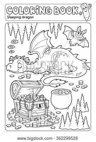 Coloring Book Dragon And Treasure Chest - Eps10 Vector Picture Illustration.