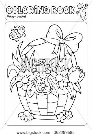 Coloring Book Flower Basket Theme 2 - Eps10 Vector Picture Illustration.