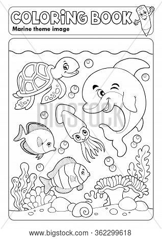 Coloring Book Marine Life Theme 3 - Eps10 Vector Picture Illustration.
