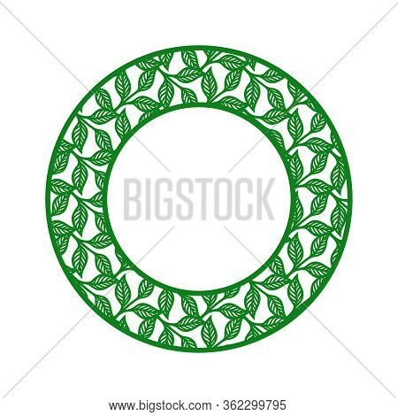 Round Photo Frame With A Pattern Of Twigs And Leaves. Green Border On A White Background. Vector Des