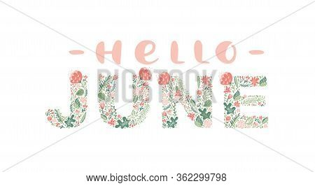 Hello June Handwritten Calligraphy Lettering Text. Summer Month Vector With Flowers And Leaves. Deco