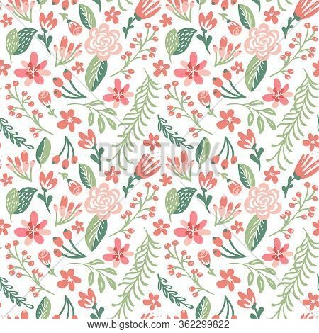 Flat Floral Background Spring. Seamless Vector Pattern For Design And Fashion Prints. Flowers Patter