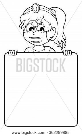 Doctor Holding Blank Panel Monochrome Image 2 - Eps10 Vector Picture Illustration.