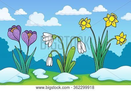 Early Spring Flowers Theme Image 1 - Eps10 Vector Picture Illustration.