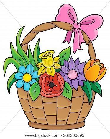 Flower Basket Theme Image 1 - Eps10 Vector Picture Illustration.
