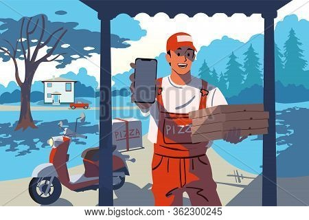 Pizza, Online Order, Home Food Delivery Concept. Young Happy Smiling Man Boy Standing With Smarthone