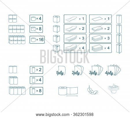 Toilet Paper Icon And Symbol Set. Paper Towel Package Information Signs. Vector Graphic Illustration
