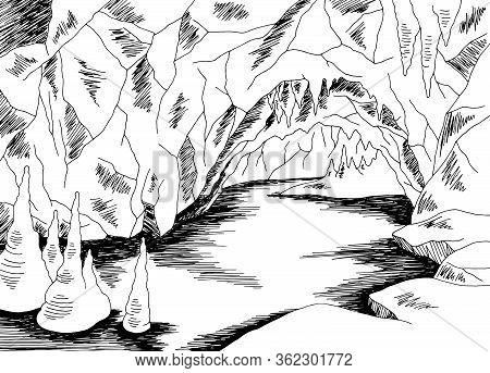 Cave Lake Graphic Black White Sketch Illustration Vector