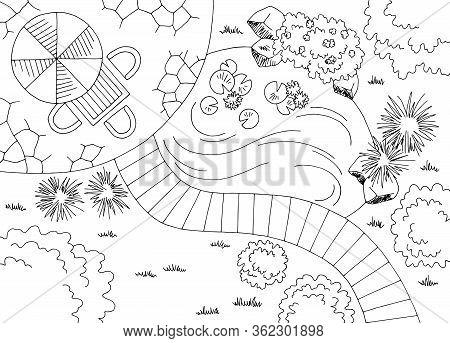 Garden Landscape Plan Architect Design Backyard Graphic Black White Sketch Aerial View Illustration