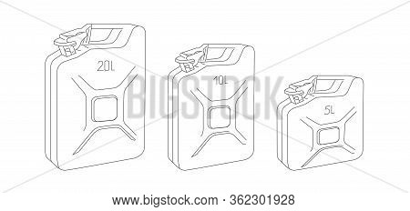 Set Of Line Oil Canister For Motor Oil And Barrel Oil Isometric Linear Illustration Icon Of 20 10 An