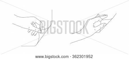 Hand Turn Or Fold The Corner Of The Page, Line Illustration Of Homan Hands In Motion Gesture Set