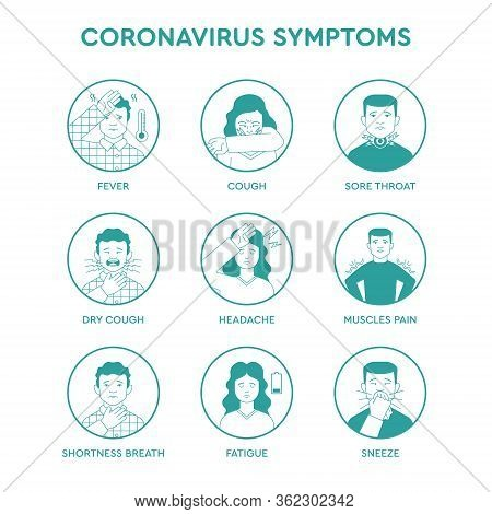 Set Icons Infographic Of Coronavirus Symptoms, Quarantine Pandemic Ncov-2019 Covid-19 Instruction Of