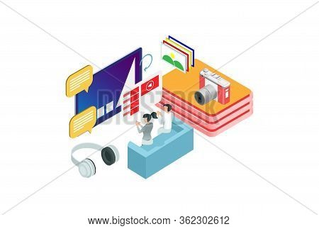 Modern Isometric Digital Photography Illustration, Web Banners, Suitable For Diagrams, Infographics,