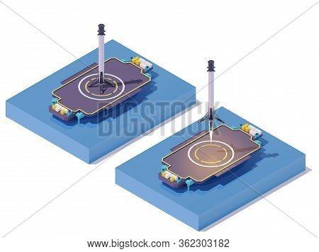 Vector Isometric Rocket Landing On Barge. Space Ship Sea Launch Or Landing. Autonomous Spaceport Dro