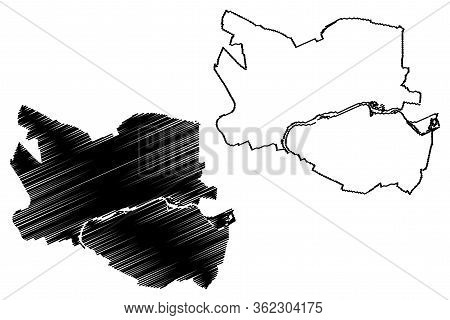 Gorzow Wielkopolski City (republic Of Poland, Lubusz Voivodeship) Map Vector Illustration, Scribble