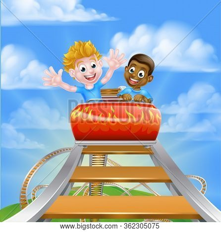Cartoon Boys Children Riding On A Roller Coaster Ride At A Theme Park Or Amusement Park