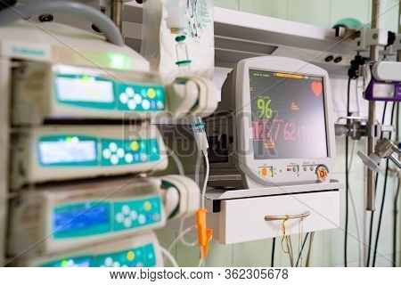 16.04.2020 Russia Rostov-on-don. Intensive Care. Monitor Resuscitation And Anesthesia For The Contro