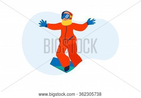 Person Enjoying Snowboarding. Excited Child Sliding On Board Flat Vector Illustration. Vacation, Sno