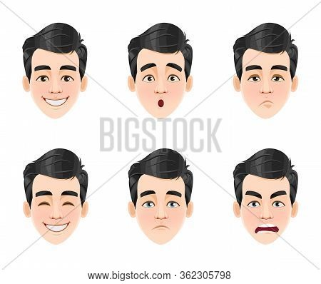 Face Expressions Of Handsome Man With Dark Hair. Six Different Male Emotions, Set. Young Guy Cartoon