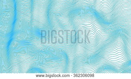 Abstract Sinuous, Deformed Lines. Blue Wave, Template. Vector Illustration. Eps.