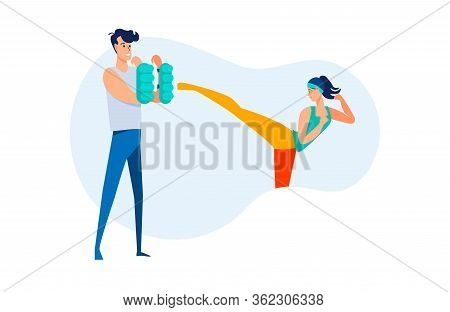 Woman Practicing Kicking. Fight Trainer Training Customer, Exercising, Kickboxing Flat Vector Illust