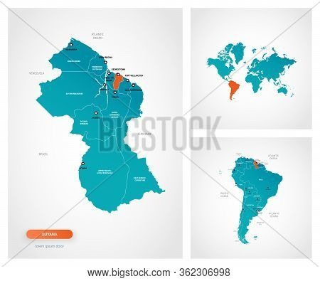 Editable Template Of Map Of Guyana With Marks. Guyana  On World Map And On South America Map.