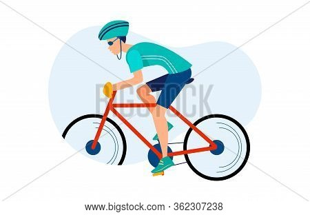 Athletic Man Cycling Outdoors. Athlete Riding Bike, Hardhat, Race Flat Vector Illustration. Sport, A