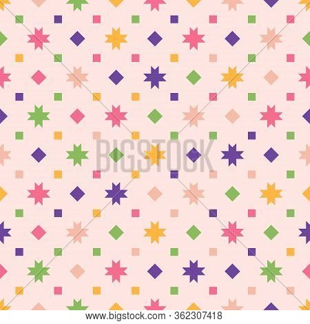 Vector Geometric Seamless Pattern With Colorful Stars, Small Flowers, Squares, Diamonds, Dots. Simpl