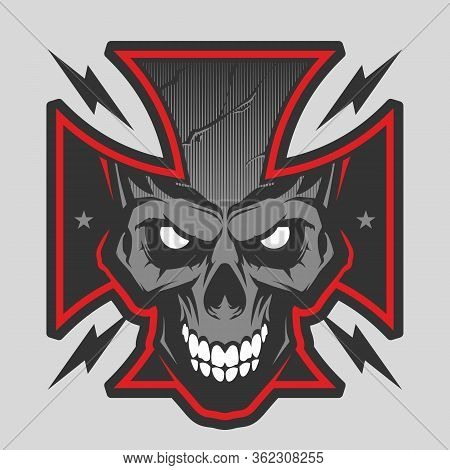 Vector Illustration With Maltese Cross With A Skull. Biker Symbol. Motorcycle Club T Shirt Graphics
