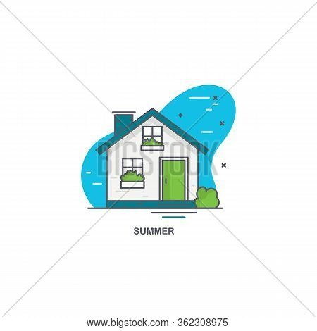 Linear Flat Illustration Of A Private House. Logo Concept For Summer Time
