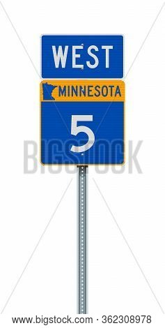 Vector Illustration Of The Minnesota State Highway Road Sign On Metallic Post