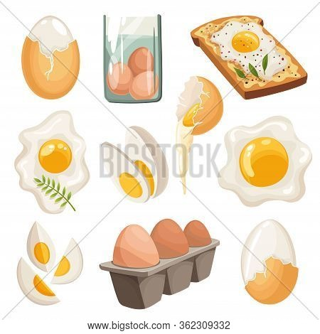 Cartoon Eggs Isolated On White Background. Set Of Fried, Boiled, Cracked Eggshell, Sliced Eggs And C