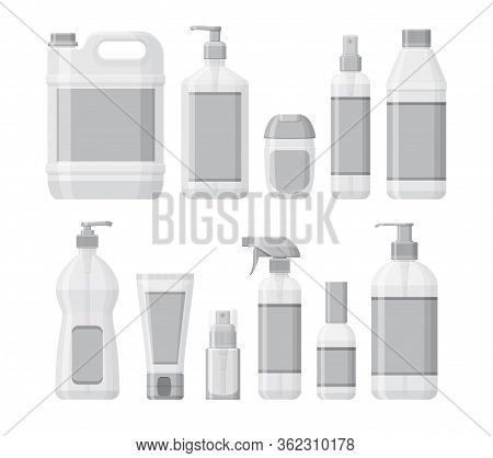 Set Of Bottles With Antiseptic And Hand Sanitizer. Washing Gel And Spray. Personal Protective Equipm