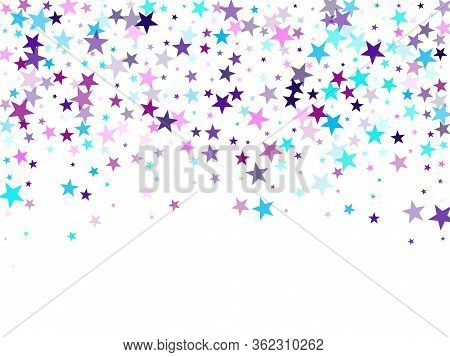 Flying Stars Confetti Holiday Vector In Cyan Blue Violet On White. Geometric Starlight Banner. Cool
