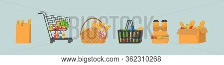 Shopping Trolley Full Of Food, Fruit, Products And Grocery Goods.shopping Basket With Fresh Food And