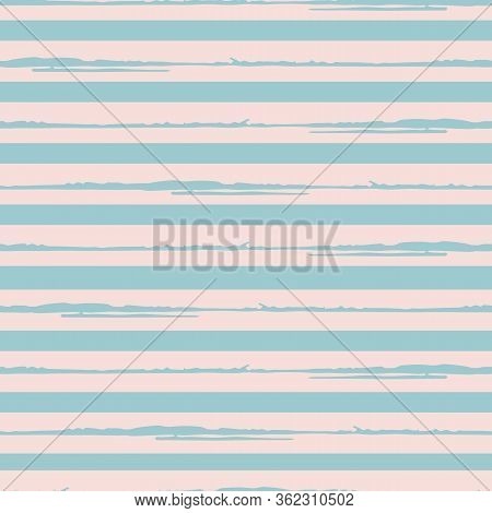 Painterly Stripe Vector Seamless Pattern Background. Brush Stroke Style Linear Backdrop. Abstract Ha