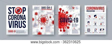 Coronavirus Poster Set With Infographics Elements. Novel Coronavirus 2019-ncov Banners. Concept Of D