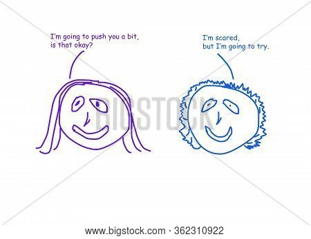 Color Cartoon Of Two Women, One Is Encouraging The Other To Try Something New.