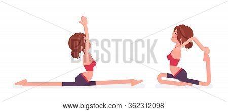 Young Yogi Woman Practicing Yoga, Doing Monkey God, Splits, Hanumanasana Pose And One Legged King Pi