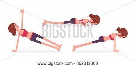 Young Yogi Woman Practicing Yoga, Doing Push And Press Ups, Phalankasana, Plank Exercise, Vasisthasa