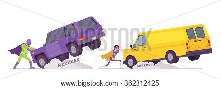 Male And Female Super Hero In Bright Costume Pulling Heavy Van. Attractive Strong Brave Warriors, Su