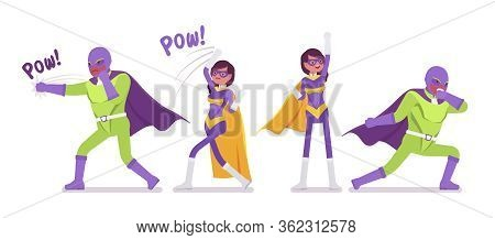 Male, Female Super Hero In Bright Costume Posing To Attack. Heroic Strong Brave Warriors, Superpower