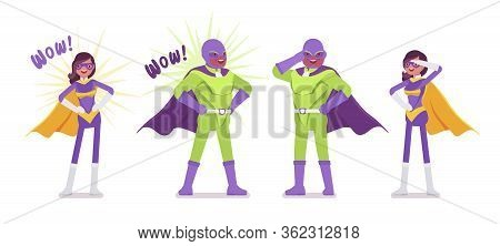 Male, Female Super Hero In Bright Costume Posing. Attractive Heroic Strong Brave Warriors, Superpowe