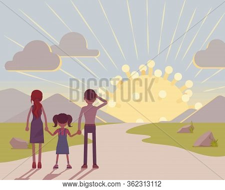 People Watching The Dawn Of New Virus. Start And Beginning Of Human Coronavirus, Sun Spike Symbol, I