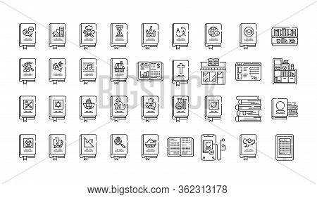 Genres Of Books Black Line Icons Set. Collection Of All Genres In Literature. Pictogram For Web Page