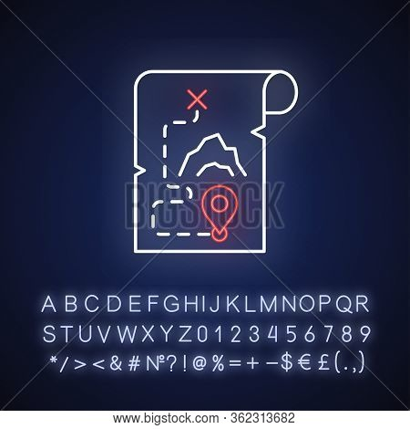Adventure Film Neon Light Icon. Outer Glowing Effect. Sign With Alphabet, Numbers And Symbols. Popul