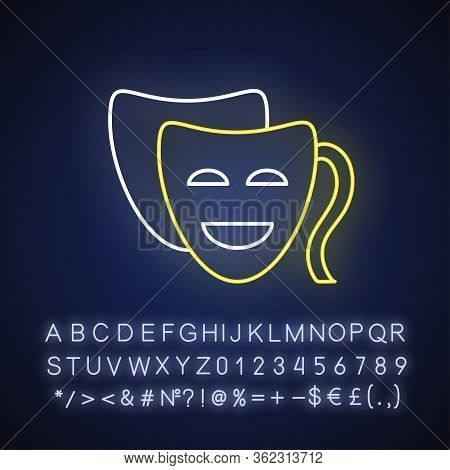 Comedy Neon Light Icon. Outer Glowing Effect. Sign With Alphabet, Numbers And Symbols. Funny Movie,